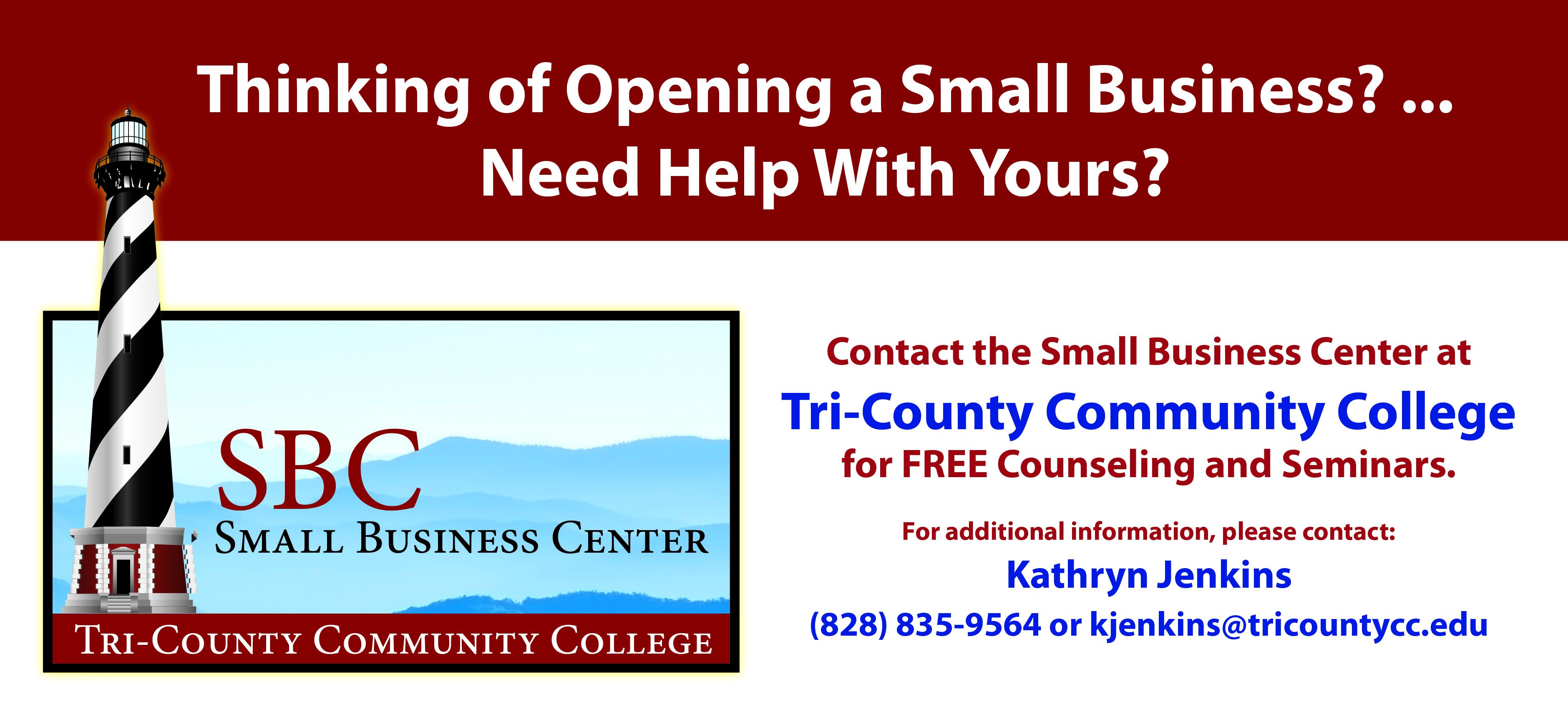 Small Business Center TCCC Murphy NC Tri-County Seminar Free Business