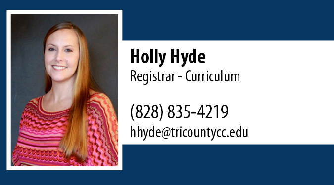 Contact Holly Hyde with Registrar Questions